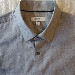 Calibrate Grey Button Up Short Sleeve Shirt L
